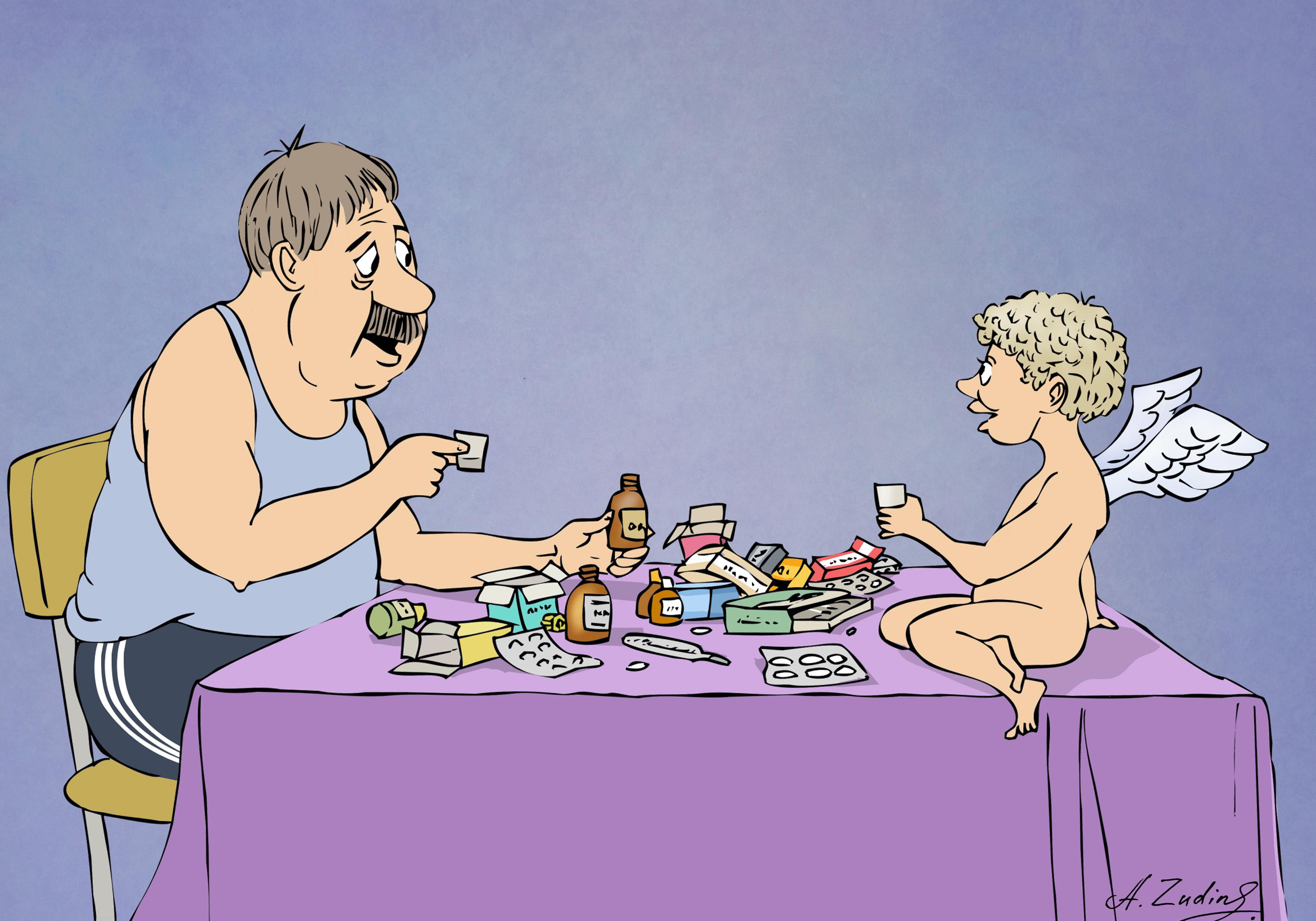 карикатурная картинка с днем рождения человека